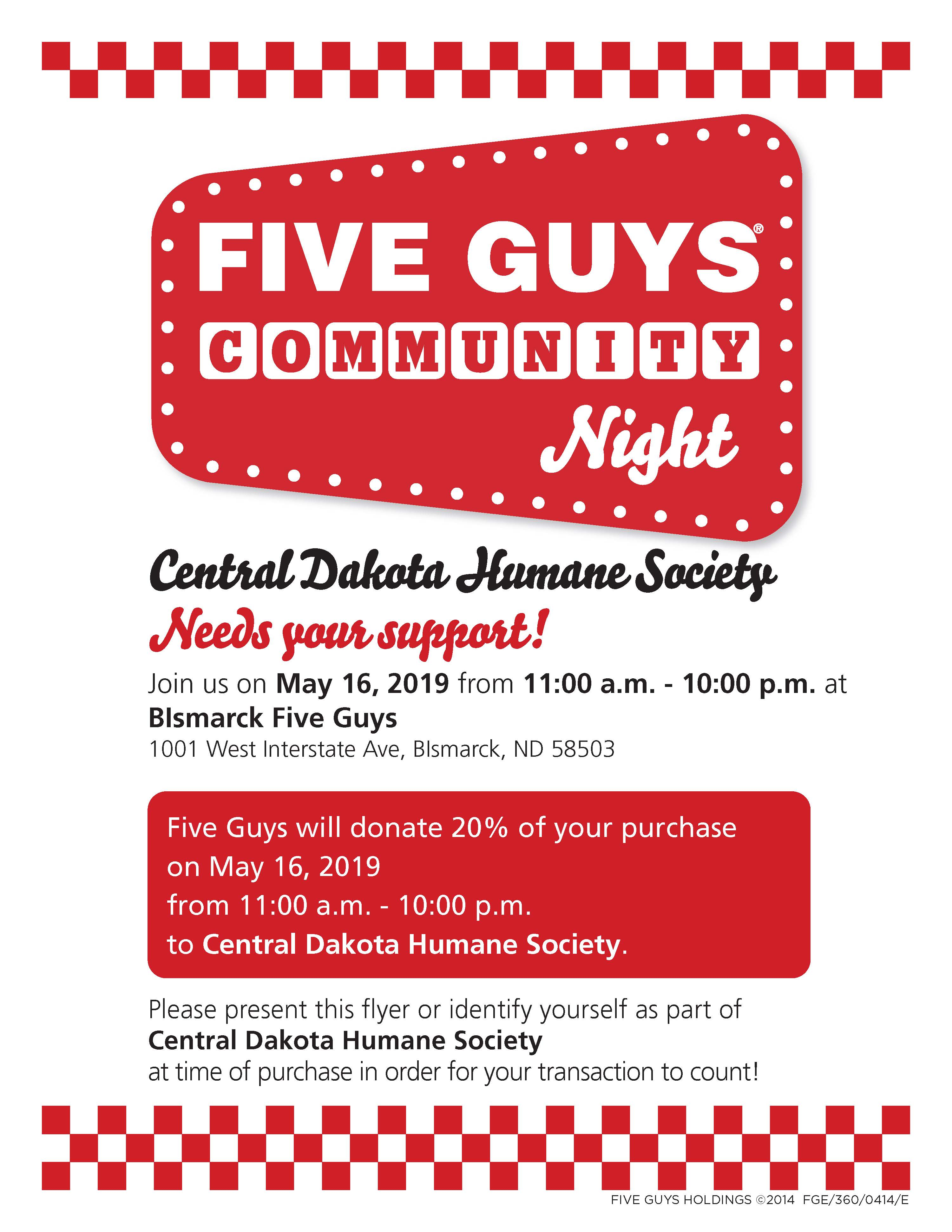Five Guys - May 16 - 11 a.m. to 10 p.m.